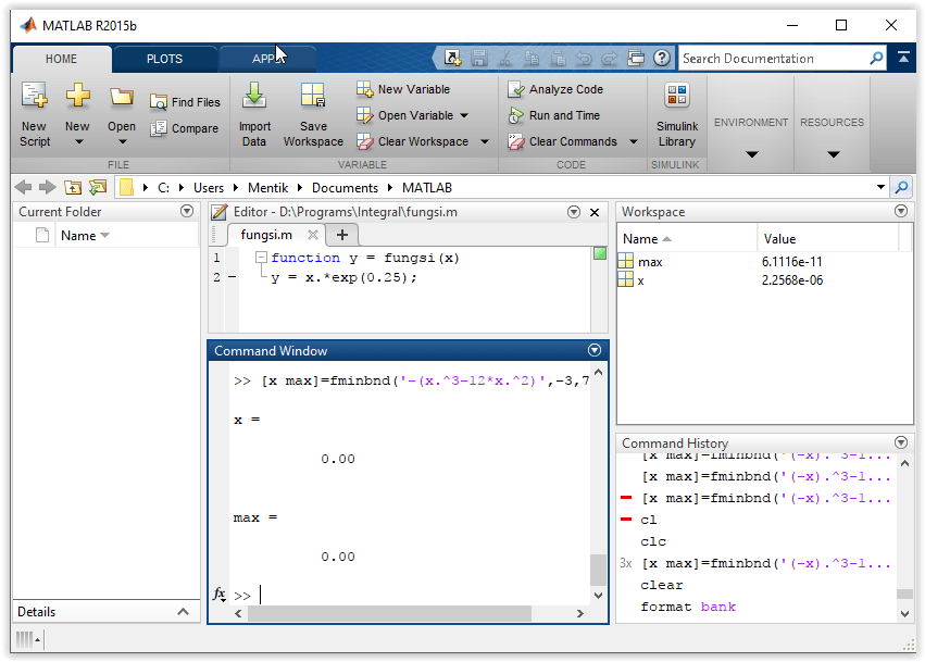 Jendela Software MATLAB