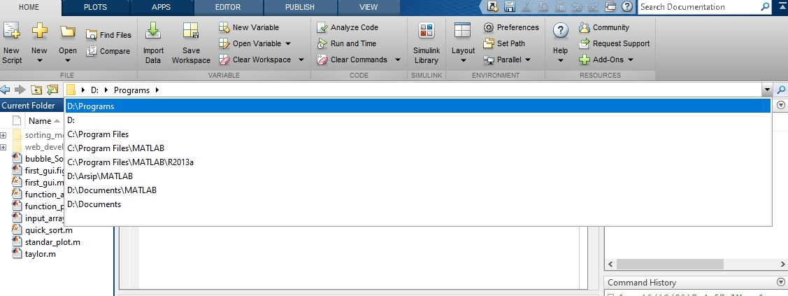 Current Folder MATLAB