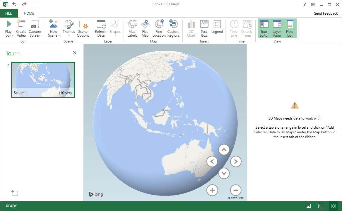 3D Maps Pada Microsoft Excel 2016