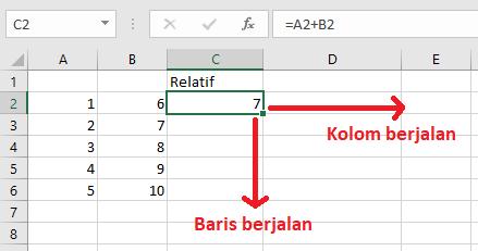 Alamat Sel Relatif Excel