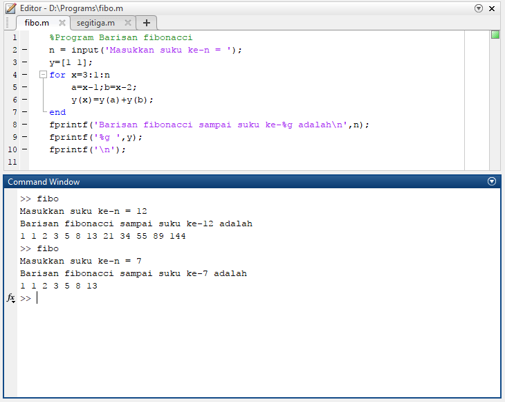 Contoh program matlab sederhana barisan fibonacci
