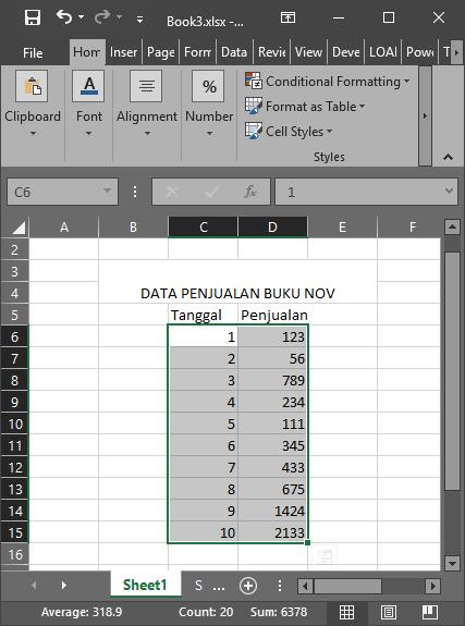 Data Excel dengan Range pada MATLAB