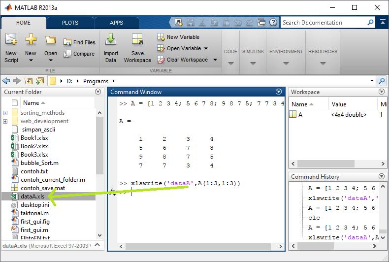 Export Excel dari MATLAB
