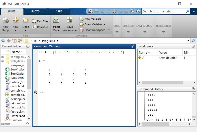 Export Matrik pada matlab