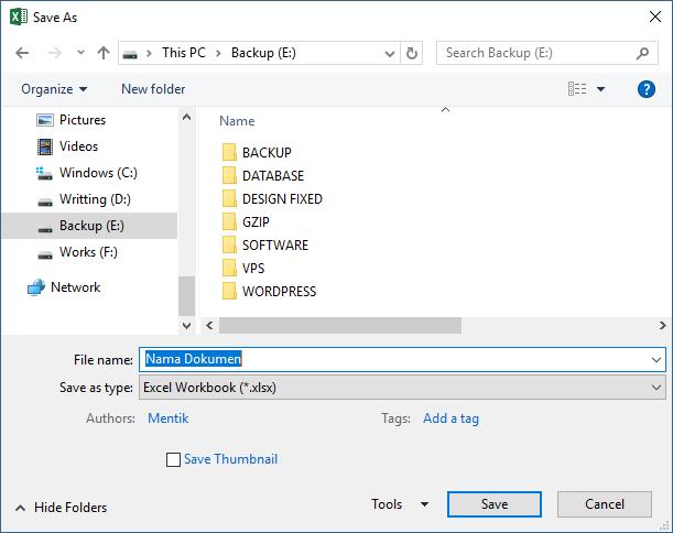 Ilustrasi Cara Menyimpan Workbook Baru pada Microsoft Excel