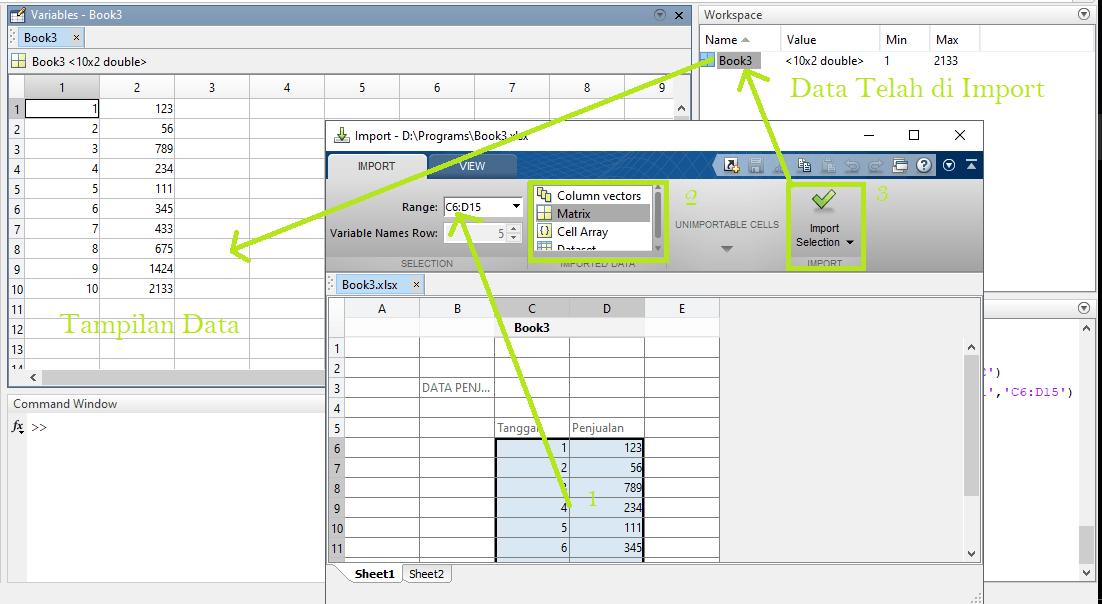 Import matriks pada matlab