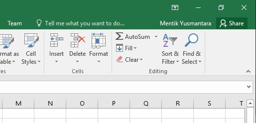 Memunculkan ribbon pada Microsoft Excel 2016