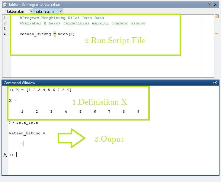 Menggunakan Varibel Command Window di Script File