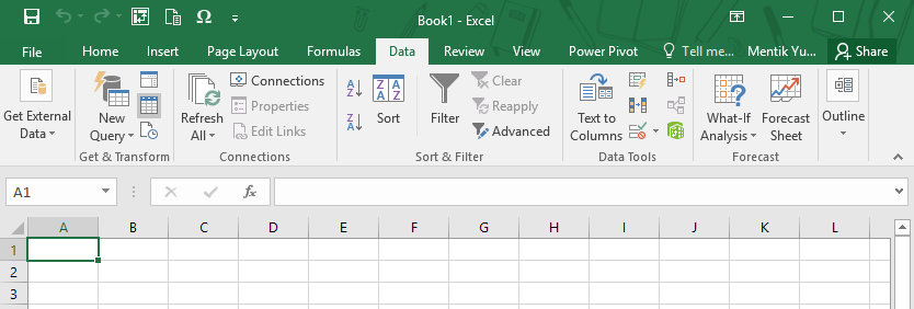 Menu Data pada Microsoft Excel 2016