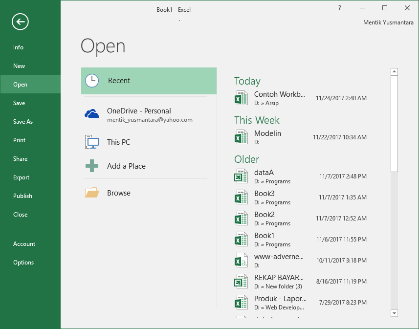 Menu File Pada Microsoft Excel