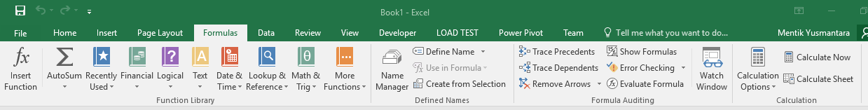 Menu Formulas Pada Microsoft Excel 2016