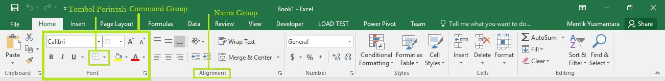 Menu Home Pada Microsoft Excel 2016