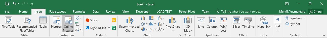 Menu Insert Pada Microsoft Excel 2016