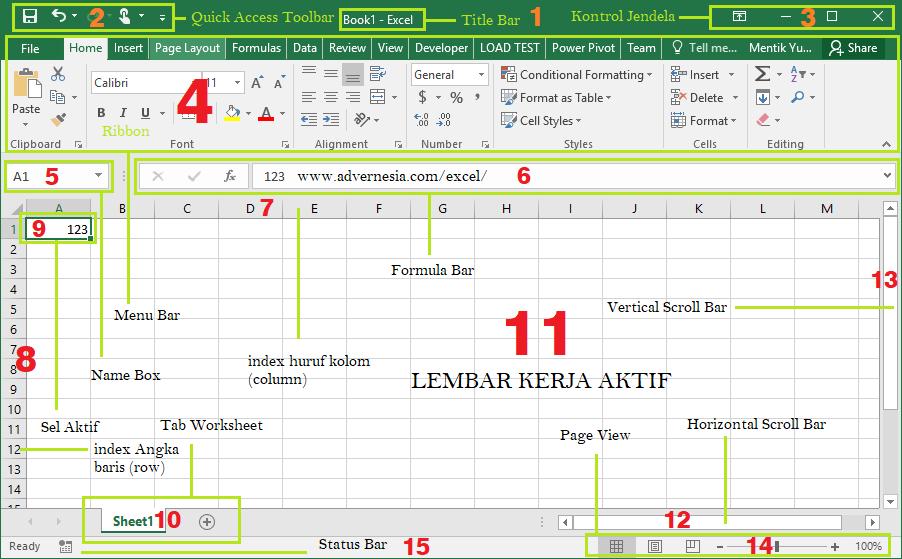Workbook pada Microsoft Excel dan Bagian-Bagiannya