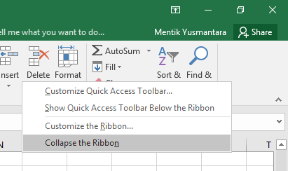 collapse the ribbon pada Excel
