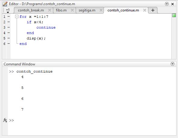 contoh program matlab sederhana dengan fungsi continue