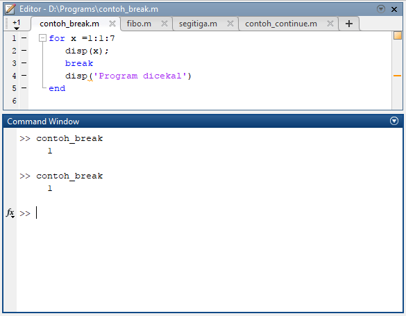 contoh program matlab sederhana for dengan break