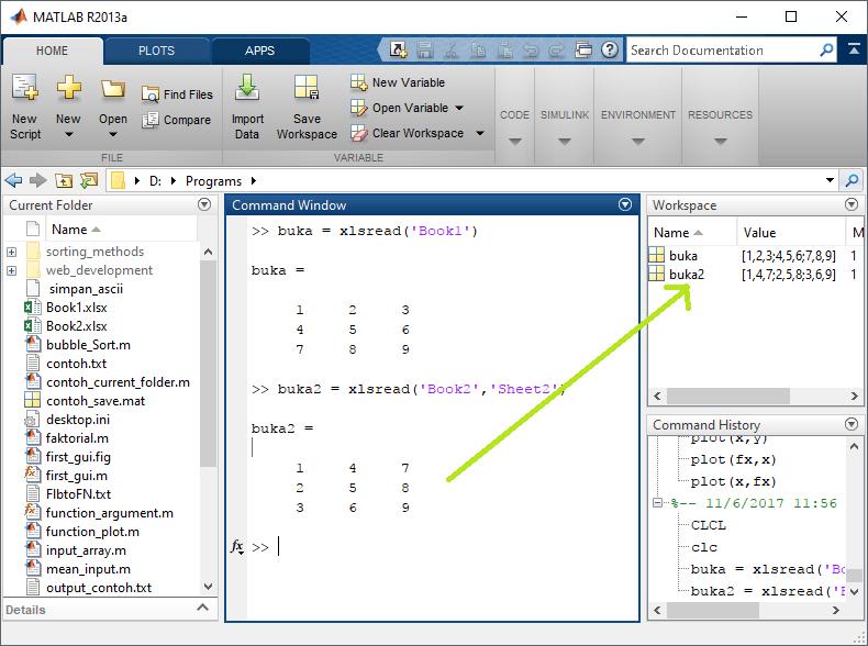 import sheet pada matlab