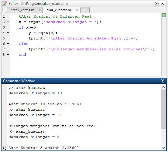 program matlab sederhana menghitung akar kuadrat