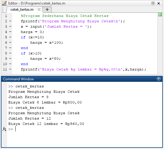 program matlab sederhana