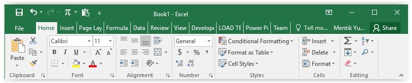 Format Sel Excel Pada Ribbon