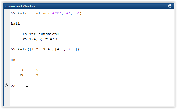 Cara membuat dan memanggil inline function pada MATLAB