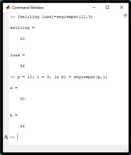 Cara menggunakan function pada MATLAB