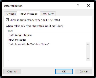 Input Message Data Validation