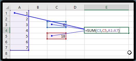Melacak formula dengan trace precedents