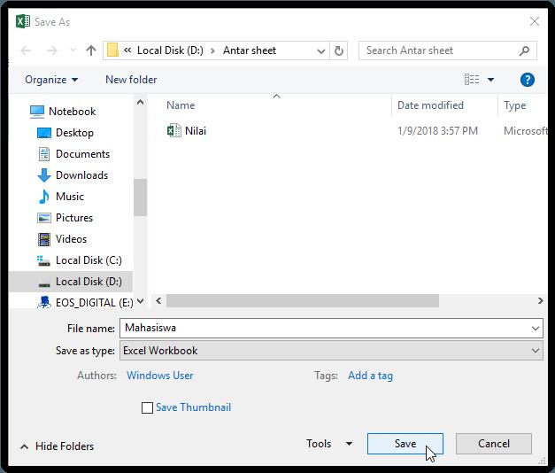 Menyimpan workbook antar sheet Excel