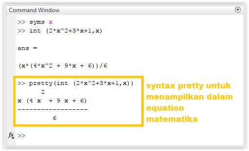 Penyelesaian integral tak tentu dengan MATLAB
