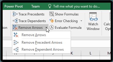 Remove arrows pada excel