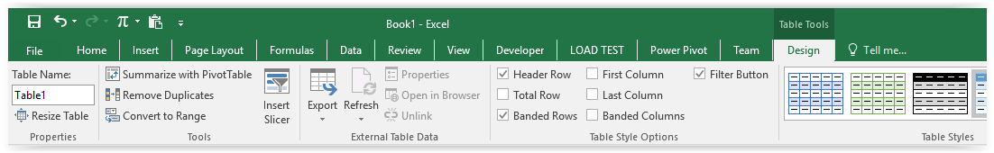Ribbon Table Tools di Excel
