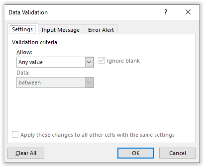 Settings Data Validation