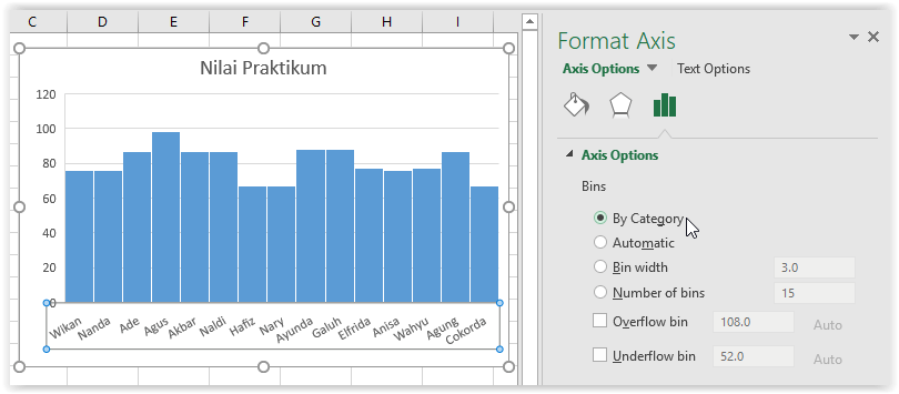 excel how to change number of bins in histogram