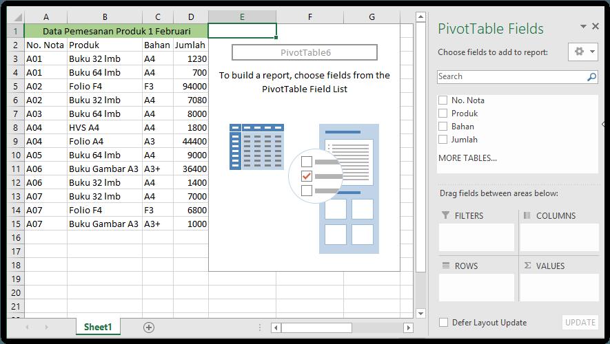 membuat pivot tabel untuk membuat pivotchart