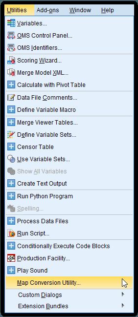menu utilities spss