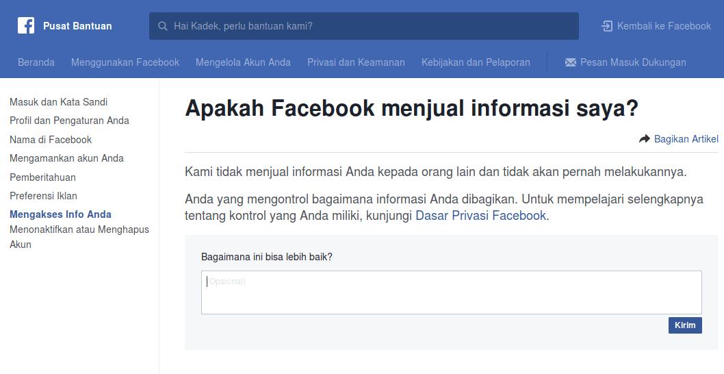 Facebook tidak menjual data penggunanya