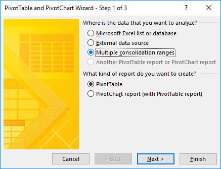 Jendela PivotTable and PivotChart Wizard