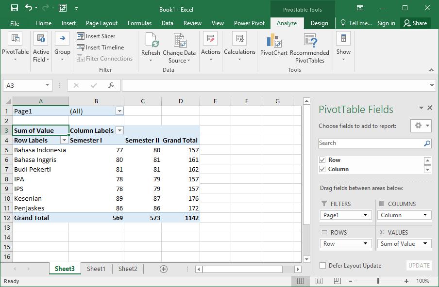 Tabel pivot dari beberapa sheet