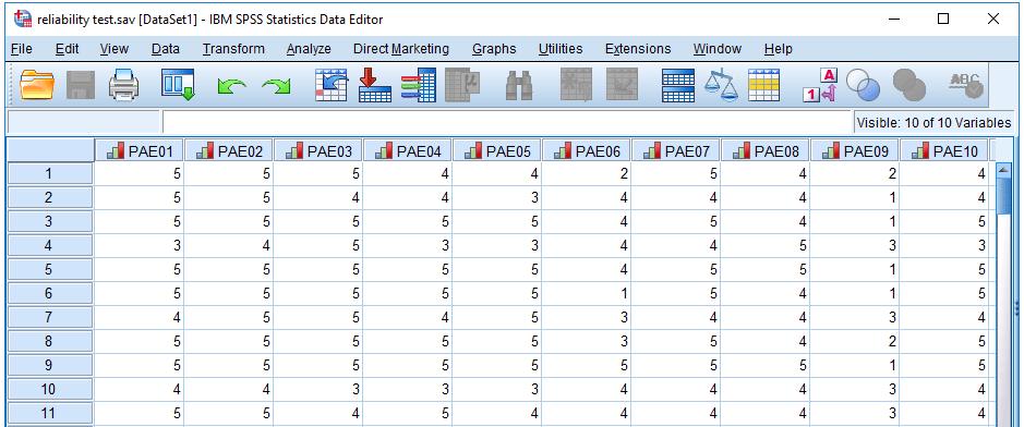 Contoh data reliabilitas