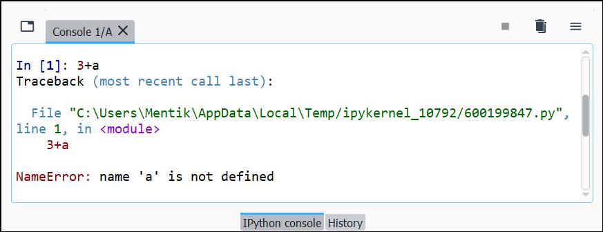 Contoh Pesan NameError di Python Interpreter