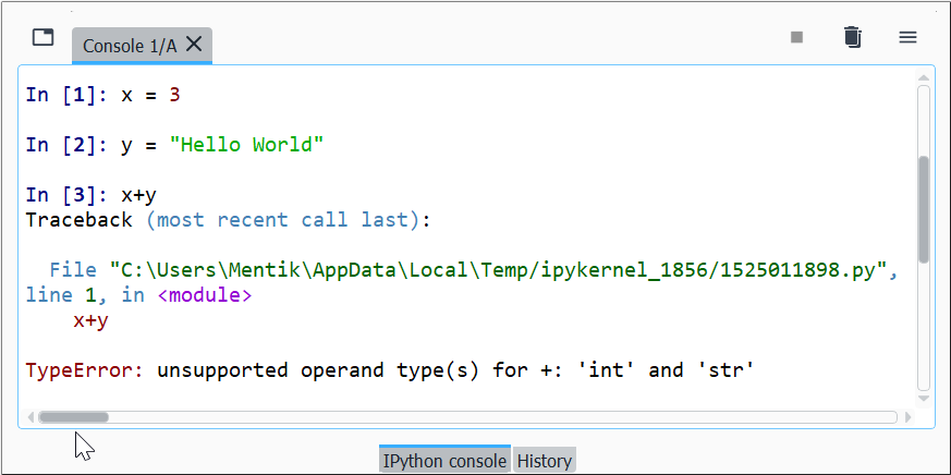 Contoh Pesan TypeError di Python Interpreter