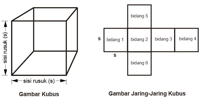 Gambar Kubus dan Gambar Jaring-Jaring Kubus