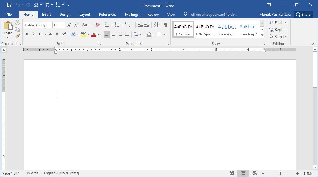 Tampilan Microsoft Word