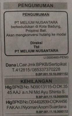 Iklan Pengumuman di Surat Kabar