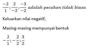 Contoh Elemen negatif pada pecahan tidak biasa