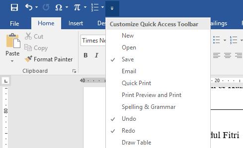 Ilustrasi Pengaturan Quick Access Toolbar