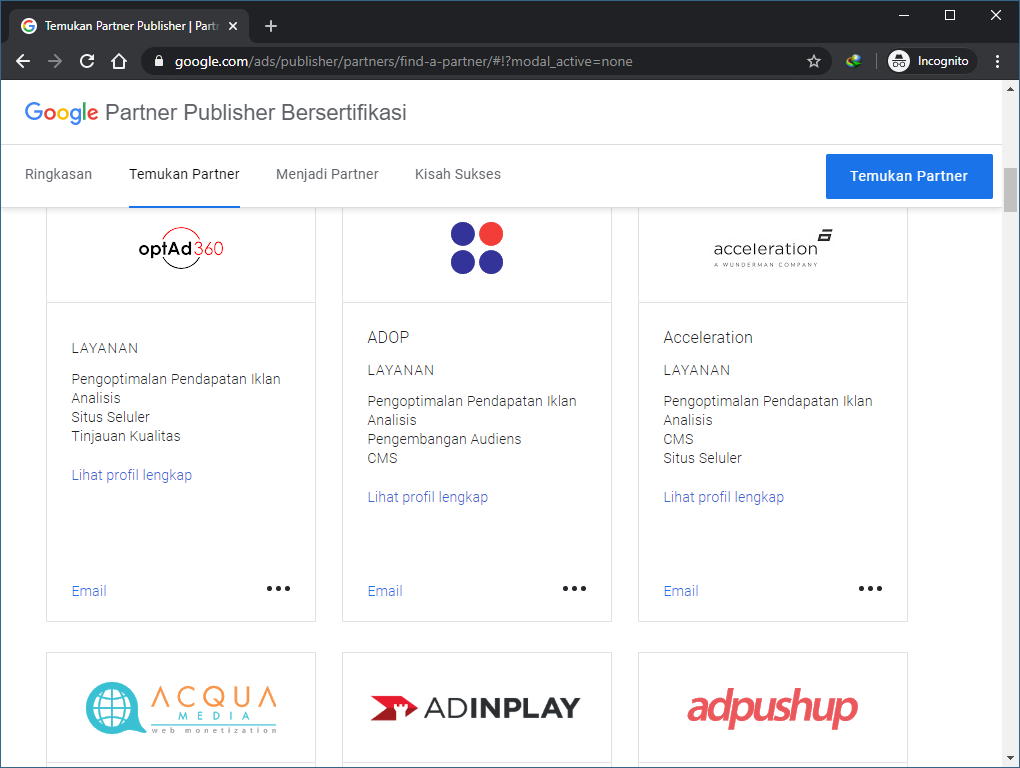 Google Ad Exchange Certified Partner di Indonesia