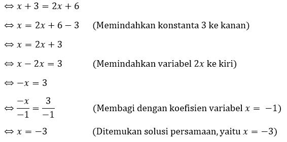 Tentukan solusi dari sistem persamaan linear x+3=2x+6